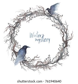A wreath of bare branches and berries with two black ravens on it. Watercolor painting. A frame for your text.