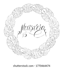 wreath of black and white monstera leaves and lettering for textile, print, raster copy