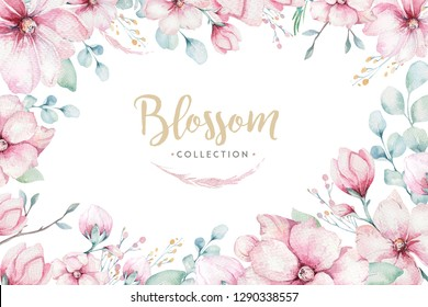 wreath of blossom pink cherry flowers in watercolor style with white background. Set of summer blooming sakura branch decoration