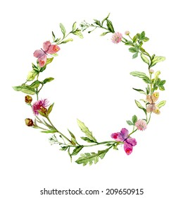 Wreath border frame with summer herbs, meadow flowers and butterflies. Watercolor