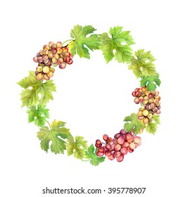 Wreath border with grape and grape leaves. Watercolor circle frame