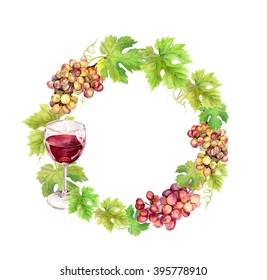 Wreath border with grape, wine glass and grape leaves. Watercolor circle frame
