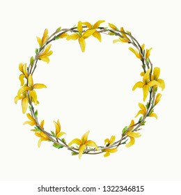 A wreath of branches and flowers.Forsythia flowers.