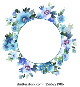 A wreath of decorative watercolor tender flowers of an apple tree with leaves in pastel pink, lilac, emerald colors, place for text. Suitable for cards,covers,wedding,women's day,mother's day,birthday
