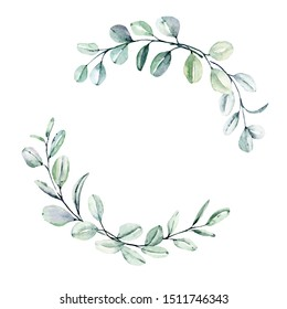Wreath with eucalyptus, watercolor leaves. Hand painting botanical floral frame. Leaf illustration isolated on white background.