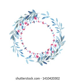Wreath with floral branches and small meadow flowers. Blue, paleblue, rose colors.  Wedding decoration. Modern watercolor