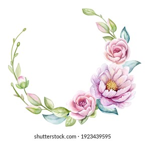 Wreath, floral frame, watercolor flowers, peonies and roses, Illustration hand painted. Isolated on white background. Frame for wedding invitations, save the date or greeting cards..