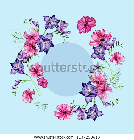 c8015a1ed Wreath Flowers Freesia Painted Watercolor Bright stockillustration ...