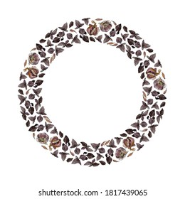 Wreath of garlic cloves and bulbs and purple basil twigs and leaves, isolated on white. Watercolour illustration. For invitations, cards, menu, recipes, cookbook, stationery and packaging design.