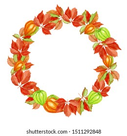 Wreath of grape leaves and physalis. Watercolor illustration isolated on white background. Hand-drawn autumn wreath.