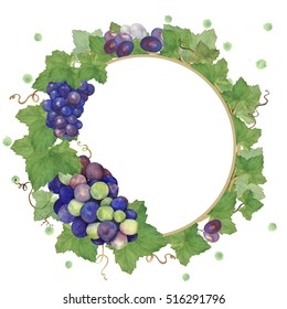 Wreath of grapes with watercolor splashes. Watercolor painting. Hand drawing. To make labels, invitations, posters.