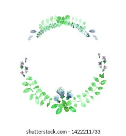 Wreath of green basil leaves, flowers and branches. Loose watercolor style