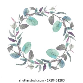 Wreath of green eucalypt leaves isolated on white background. Hand painted floral clip art, round frame. Watercolor illustration for wedding, greeting cards in boho or rustic style, design, print.