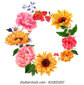A wreath with hand drawn watercolor flowers (roses, peonies, sunflowers, and tulips) and butterflies, with copyspace