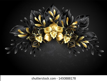 Wreath of jewelry orchids with gold and dark leaves. Black Orchid.