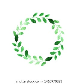 Wreath with leaves and branches. Green colors. Place for text