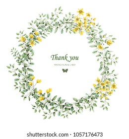 Wreath of leaves and flowers. The design of the invitation. Background for save the dates. Romantic yellow flowers . Designer card.