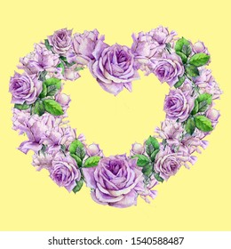 Wreath of lilac roses on a yellow background