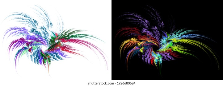 A wreath of multi-colored feathers of different lengths on a black and white backgrounds. The feathers are fanned out and look like a flower. Abstract fractal background. 3d rendering. 3d illustration