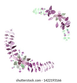 Wreath of purple basil leaves, flowers and branches. Loose watercolor style