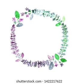 Wreath of purple, green basil leaves, flowers and branches. Loose watercolor style