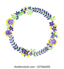 Wreath with purple and yellow flowers, and green leaves on white background. Hand-painted in watercolor and acrylic paint.