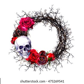 Wreath with skull, red roses and branches. Watercolor border for Halloween