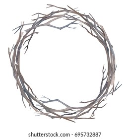 Wreath of twigs without leaves. Autumn or winter round frame. Watercolor wreath of branches.