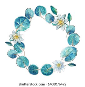 Wreath of  water lily leaves and flowers, hand painting watercolor. Green shades, white flowers. Place for text