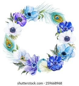 wreath, watercolor, flowers, anemones, feather, boho, wreath,