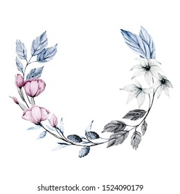 Wreath with watercolor flowers and leaves. Blue and pink colors. Frame isolated on white background. Hand drawing. Clip art perfectly for wedding, birthday, party and other greetings design.