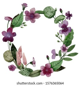 wreath of watercolor flowers of lilac lilac and covered leaves on a white background / ideal for inserting text, lettering, calligraphy, congratulations