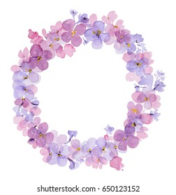 Wreath of watercolor flowers of lilac isolated on white background. Perfect for wedding or greeting card.