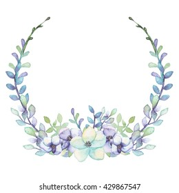 Wreath With Watercolor Light Green And Violet Flowers