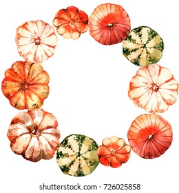 Wreath with watercolor pumpkin.Thanksgiving design for cards, prints and more.