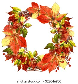 wreath with watercolor vine leaves and berries