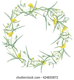 a wreath of yellow flower. Drawing watercolor. Small grasses and wildflowers