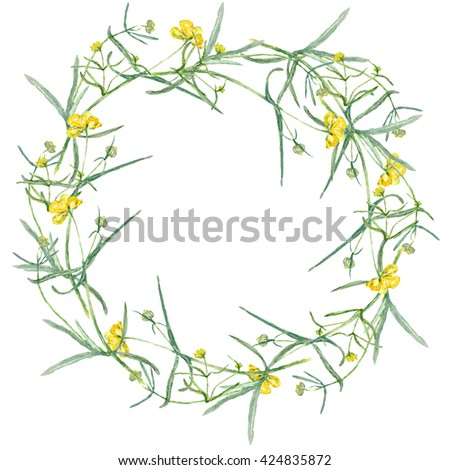 Wreath yellow flower drawing watercolor small stock illustration a wreath of yellow flower drawing watercolor small grasses and wildflowers mightylinksfo