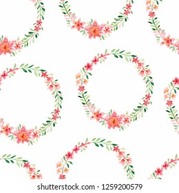 Wreath/frame pattern with bright peach color, white, pink flowers, green leaves, for wedding stationary, greetings, wallpapers, fashion, background, texture,wrapping,invitations and cards.Ornament.
