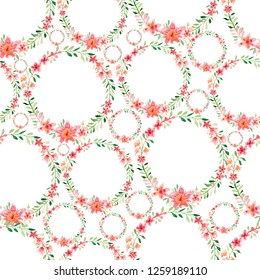 Wreath/frame pattern with bright peach color,white,pink flowers,green leaves,for wedding stationary,greetings,wallpapers,fashion,background,texture, wrapping,invitations and cards.Colorful ornament.