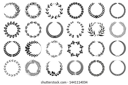 Wreaths collection black and white patterns set isolated on bright backdrop raster illustration of varied shape components crowns floral design