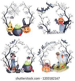 Wreaths of hand-drawn watercolor elements for Halloween.