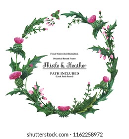 Wreaths from scottish wild plants for decoration. Watercolor Thistle and heather on a white backdrop,  isolated, path included