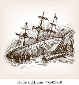 Wrecked ancient sailing ship sketch style raster illustration. Old hand drawn engraving imitation.