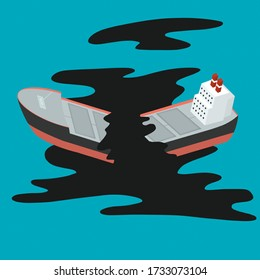 Wrecked oil tanker ship. Oil spill in the ocean. Oil leaking ecological problem, pollution environment concept. Isometric illustration