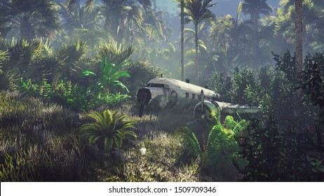 Wrecked plane lies in the jungle in the middle of palm trees and tropical vegetation. 3D Rendering