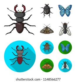 Wrecker, parasite, nature, butterfly .Insects set collection icons in cartoon,flat style bitmap symbol stock illustration web.