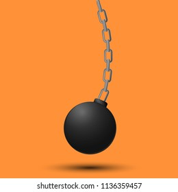Wrecking ball. Demolition sphere hanging on chains. illustration on orange