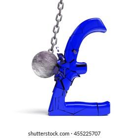 wrecking ball destroying a huge blue pound sign (3d illustration)