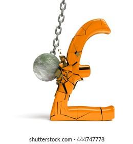 wrecking ball destroying a huge golden pound sign (3d illustration)